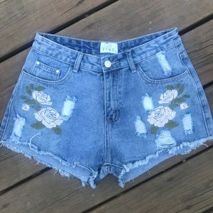 High-Waisted Embroidered Distressed Denim Shorts